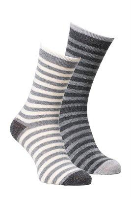 Alpaca sokken grijs gestreept